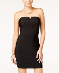 Emerald Sundae Juniors' Strapless Embellished Bodycon Dress Black