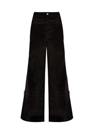 Wales Bonner Isaac High Waisted Flared Velvet Trousers Black