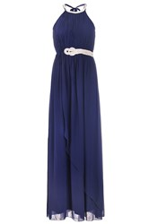 Quiz Navy Diamante Neck Maxi Dress