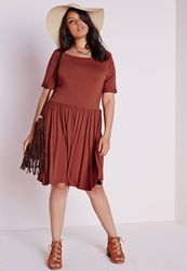 Missguided Plus Size Oversized Swing Dress Rust Brown