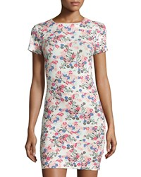 French Connection Floral Short Sleeve Sheath Dress Porcelain Multi