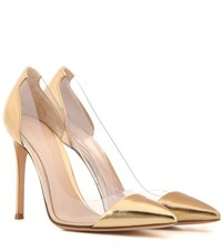 Gianvito Rossi Plexi Metallic Leather And Transparent Pumps Gold