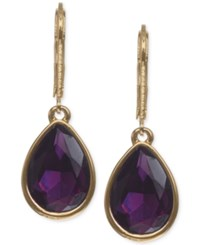 Nine West Gold Tone Amethyst Colored Teardrop Earrings Purple