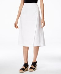 Eileen Fisher Faux Wrap Midi Skirt White