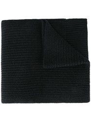 Dolce And Gabbana Ribbed Knit Scarf Black