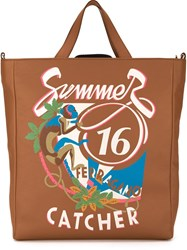 Salvatore Ferragamo Summer Catcher Print Tote Brown