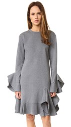 Goen.J Long Sleeve Ruffle Dress Charcoal
