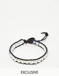 Reclaimed Vintage Stone And Rope Bracelet White Black