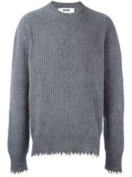 Msgm Frayed Pullover Grey