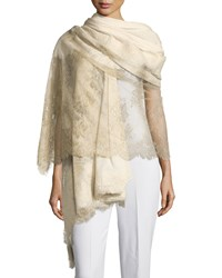 Agnona Chantilly Lace Cashmere Blend Shawl Cream Gold Ivory Gold Women's