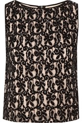 Alice Olivia Amal Embellished Guipure Lace Top Black
