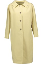 Dolce And Gabbana Wool Crepe Coat Pastel Yellow