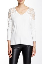 Fate Lace Contrast V Neck Dolman Tee White