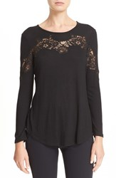 Rebecca Taylor Women's Lace Inset Long Sleeve Tee