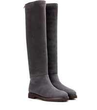 Loro Piana Ethel Shearling Lined Suede Knee High Boots Grey