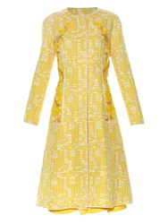 Oscar De La Renta Embellished Panel Tweed Coat