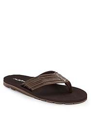 Saks Fifth Avenue Topstiched Faux Leather Flip Flops Brown