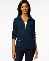 Karen Scott Sport Long Sleeve Jacket Only At Macy's Intrepid Blue