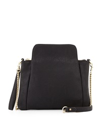 Neiman Marcus Pleated Faux Leather Clutch Black
