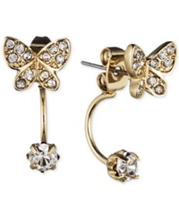 Lonna And Lilly Gold Tone Crystal Butterfly Front Back Earrings