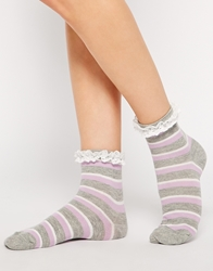 Asos Stripe Lace Trim Ankle Socks Multi