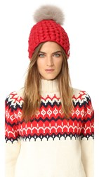 Mischa Lampert Beanie Pomster Hat Red Taupe