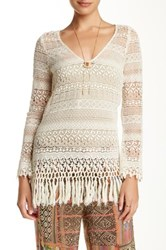 Love And Liberty Long Sleeve Crochet Lace Tunic Beige