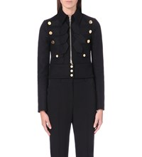 Givenchy Military Cropped Wool Blend Jacket Blk