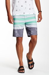 Micros Floral And Striped Board Short Gray