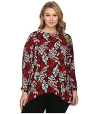 Vince Camuto Plus Size Long Sleeve Woodland Floral High Low Blouse Radiant Red Women's Blouse
