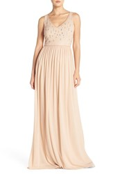 Women's Adrianna Papell Beaded Bodice V Neck Chiffon Gown