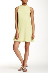 Pink Owl Mock Neck Textured A Line Dress Green