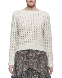 Chloe Long Sleeve Crocheted Sweater Cream