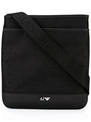 Armani Jeans Logo Pattern Messenger Bag Black