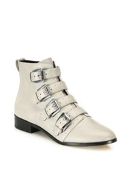 Rebecca Minkoff Maddox Buckle Leather Booties Winter Fog Black