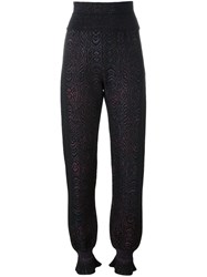 Lanvin Animal Print Tapered Trousers Black