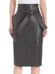 Escada Leather Pencil Skirt Hunter Green
