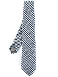 Canali Houndstooth Pattern Tie Blue