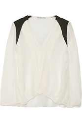 Chelsea Flower Blanca Pleated Silk Crepe De Chine Blouse White