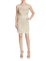 Aidan Mattox Cap Sleeve Beaded Shift Dress Light Gold