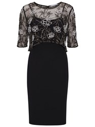 Gina Bacconi Moss Crepe Dress With Beaded Overtop Black White
