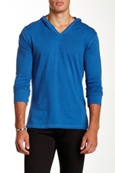 Threads For Thought Slub Knit V Neck Hoodie Blue