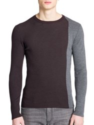 Emporio Armani Colorblock Wool Blend Sweater Bordeaux Grigio