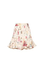 Zimmermann Mischief Floral Print Pleated Linen Skirt White Multi