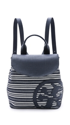Tory Burch Denim Beach Backpack Denim Stripe