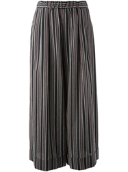 Hache Striped Wide Leg Trousers Blue