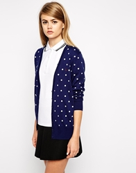 Fred Perry Polka Dot Cardigan Frenchnavy