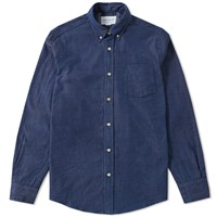 Tripl Stitched Button Down Slub Chambray Shirt Blue