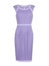 Gina Bacconi Crochet Floral Guipure Dress Lilac