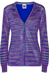 M Missoni Crochet Knit And Silk Crepe Cardigan Royal Blue